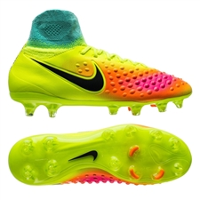 Nike Magista Obra II FG Youth Soccer Cleats (Volt/Black/Total Orange/Pink Blast)