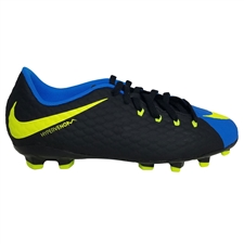 Nike Youth Hypervenom Phelon III FG Soccer Cleats (Black/Volt/Photo Blue)