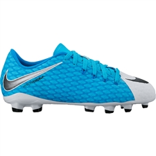 Nike Youth Hypervenom Phelon III FG Soccer Cleats (White/Black/Photo Blue/Chlorine Blue)