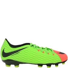 Nike Hypervenom Phelon III FG Youth Soccer Cleats (Electric Green/Black/Hyper Orange/Volt)