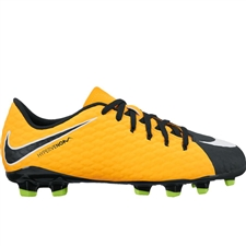 Nike Youth Hypervenom Phelon III FG Soccer Cleats (Laser Orange/White/Black/Volt)