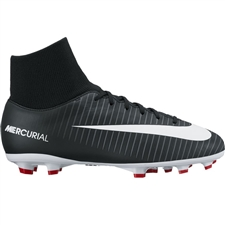Nike Youth Mercurial Victory VI DF FG Soccer Cleats (Black/White/Dark Grey/University Red)