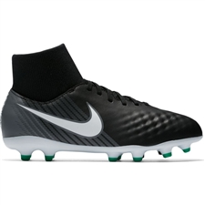 Nike Youth Magista Onda II DF FG Soccer Cleats (Black/White/Cool Grey/Stadium Green)