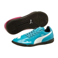 Puma evoPOWER 3 Tricks Youth Indoor Soccer Shoes (Beetroot Purple/Bluebird/White)