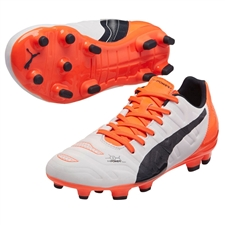 Puma evoPOWER 3.2 Youth FG Soccer Cleats (White/Total Eclipse/Lava Blast)