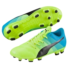Puma evoPOWER 4.3 Youth FG Soccer Cleats (Safety Yellow/Black/Atomic Blue)