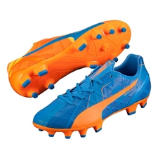 Puma evoSPEED 4.4 Tricks Youth FG Soccer Cleats (Orange Clown Fish/Electric Blue Lemonade)