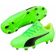 Puma Youth evoPOWER Vigor 4 FG Soccer Cleats (Green Gecko/Black/Safety Yellow)