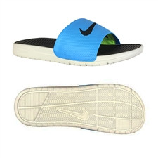 Nike Men's Benassi Solarsoft Soccer Sandal (Blue Hero/Light Bone/Black)