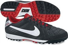 Nike Tiempo Mystic IV Soccer Turf Shoes (Black/Metallic Cool Grey/Challenge Red/White)