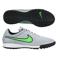 Nike Tiempo Genio Soccer Turf Shoes (Wolf Grey/Black/Green Strike)