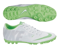 Nike FC247 Bomba Finale II Reflective Turf Soccer Shoes (White/Electric Green/Metallic Silver)