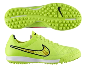 Nike Tiempo Legacy Soccer Turf Shoes (Volt/Hyper Punch/Black)