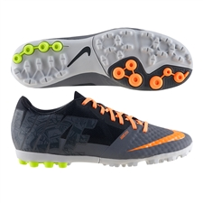 Nike FC247 Bomba Finale II Premium Turf Soccer Shoes (Cool Grey/Atomic Orange/Volt)