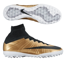 Nike MercurialX Proximo TF Turf Soccer Shoes (Metallic Gold Grain/Challenge Red/Black)