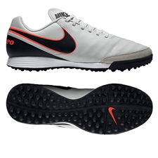 Nike Tiempo Genio II TF Turf Soccer Shoes (Pure Platinum/Black)