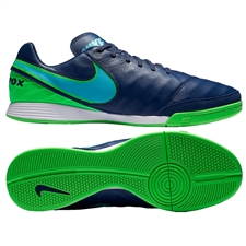 Nike TiempoX Mystic V IC Indoor Soccer Shoes (Coastal Blue/Polarized Blue/Rage Green)
