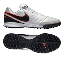 Nike Tiempo Mystic V TF Turf Soccer Shoes (Pure Platinum/Black)