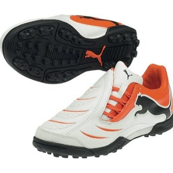 Puma PowerCat 3.10 Turf Soccer Shoes (White/Orange/Black)