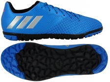 Adidas Youth Messi 16.3 Turf Soccer Shoes (Shock Blue/Metallic Silver) S79643