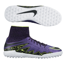 Nike Youth HypervenomX Proximo TF Turf Soccer Shoes (Hyper Grape/Black/Volt/Court Purple)
