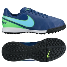 Nike Youth TiempoX Legend VI TF Turf Soccer Shoes (Coastal Blue/Polarized Blue/Rage Green)