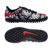 Nike Youth Neymar Hypervenom Phelon TF Turf Soccer Shoes (Black/White/Bright Crimson)