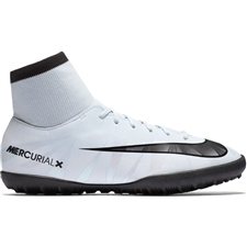 Nike Youth MercurialX Victory VI CR7 DF TF Turf Soccer Shoes (Blue Tint/Black/White)