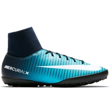 Nike Youth MercurialX Victory VI DF TF Turf Soccer Shoes (Obsidian/White/Gamma Blue)
