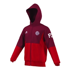 Adidas Bayern Munich 2015-16 Full Zip Soccer Hoodie (Craft Red/FCB True Red)