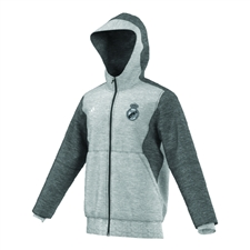Adidas Real Madrid 2015-16 Full Zip Soccer Hoodie (Grey Heather)