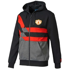 Adidas Manchester United FC Full Zip Sweatshirt (Black/Dark Grey)