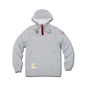 Adidas Men's Liverpool Authentic Hoodie (Grey Heather/Red)