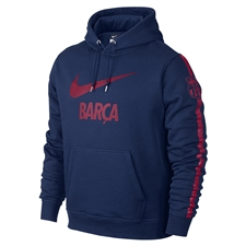 Nike FC Barcelona Club Core Soccer Hoodie (Loyal Blue/Noble Red)