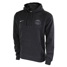 Nike Paris St. Germain Core Soccer Hoodie (Black Heather/Metallic Silver)