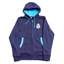 Real Madrid 2013 Full Zip Soccer Hoodie (Navy/Turquoise)