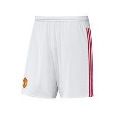 Adidas Manchester United Home '15-'16 Replica Soccer Shorts (White/Real Red)