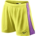 Nike E4 Women's Soccer Shorts (Electric Yellow/Atomic Purple/Obsidian)