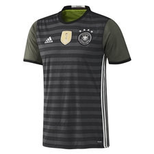 Adidas Germany Away 2015-16 Soccer Jersey (Dark Grey Heather/Off White/Base Green)