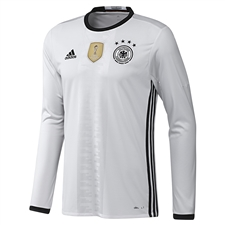 Adidas Germany Home 2015-16 Long Sleeve Soccer Jersey (White/Black)