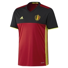Adidas Belgium 2015-16 Home Soccer Jersey (Scarlet/Black/Solar Yellow)