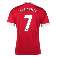 Adidas Manchester United 'MEMPHIS 7' Home '15-'16 Soccer Jersey (Real Red/White/Black)