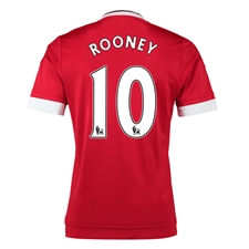 Adidas Manchester United 'ROONEY 10' Home '15-'16 Soccer Jersey (Real Red/White/Black)