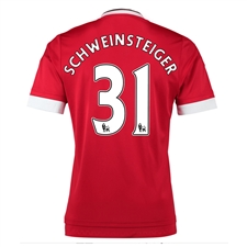 Adidas Manchester United 'SCHWEINSTEIGER 31' Home '15-'16 Soccer Jersey (Real Red/White/Black)