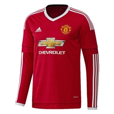 Adidas Manchester United Home '15-'16 Long Sleeve Soccer Jersey (Real Red/White/Black)