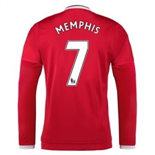 Adidas Manchester United 'MEMPHIS 7' Home '15-'16 Long Sleeve Soccer Jersey (Real Red/White/Black)