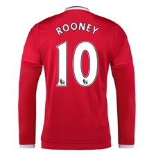 Adidas Manchester United 'ROONEY 10' Home '15-'16 Long Sleeve Soccer Jersey (Real Red/White/Black)