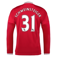 Adidas Manchester United 'SCHWEINSTEIGER 31' Home '15-'16 Long Sleeve Soccer Jersey (Real Red/White/Black)