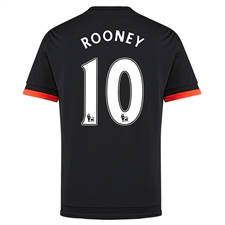Adidas Manchester United 'ROONEY 10' Third '15-'16 Soccer Jersey (Black/Solar Red)