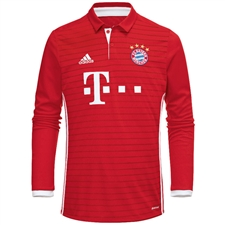 Adidas Bayern Munich Home '16-'17 Long Sleeve Replica Soccer Jersey (Red/White)